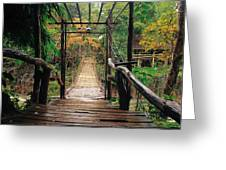 Bridge Over Waterfall Greeting Card