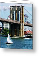 Bridge - Sailboat By The Brooklyn Bridge Greeting Card