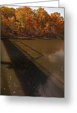 Bridge Shadow In Autumn On The  Duck River Tennessee Fine Art Prints As Gift For The Holidays  Greeting Card