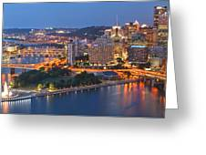 Bridge To The Pittsburgh Skyline Greeting Card