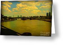 Bridge With Puffy Clouds Greeting Card