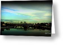 Bridge With White Clouds Vignette Greeting Card