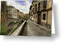 Bridges At Darro Street In Historic Albaycin In Granada Greeting Card