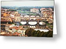 Bridges Of Florence Greeting Card by Susan Schmitz
