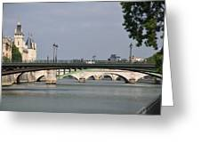 Bridges Over The Seine And Conciergerie - Paris Greeting Card