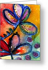 Bright Abstract Flowers Greeting Card