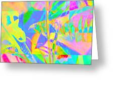 Bright Abstracted Banana Leaf - Square Greeting Card