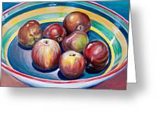 Red Apples In Striped Bowl Greeting Card