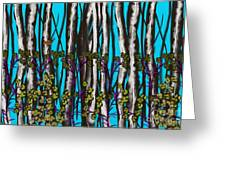 Bright Blue And Birch Greeting Card