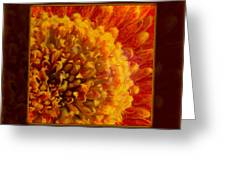 Bright Budding And Golden Abstract Flower Painting Greeting Card