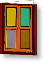 Bright Colorful Window Shutters With Four Panels Greeting Card