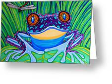 Bright Eyed Frog Greeting Card by Nick Gustafson