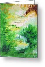 Bright Green Modern Abstract Garden Spirits By Chakramoon Greeting Card