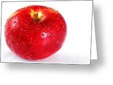 Bright Red Apple With Water Drops Greeting Card