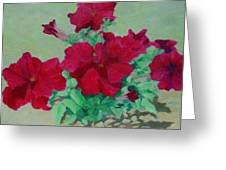 Red Flowers Art Brilliant Petunias Bright Floral  Greeting Card