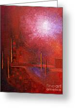 bright red modern abstract IN TOUCH WITH YOUR SOUL by Chakramoon Greeting Card