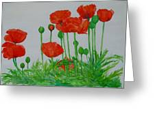 Red Poppies Colorful Flowers Original Art Painting Floral Garden Decor Artist K Joann Russell Greeting Card