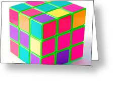 Bright Rubix Greeting Card by Kenneth Feliciano