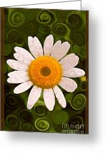 Bright Yellow And White Daisy Flower Abstract Greeting Card