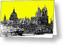 Dark Ink With Bright Yellow London Skies Greeting Card