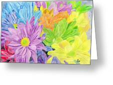 Brightly Coloured Flowers Greeting Card by Bav Patel