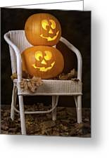 Brightly Lit Jack O Lanterns Greeting Card
