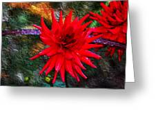 Brilliance In An Autumn Garden - Red Dahlia Greeting Card