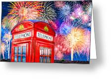 Brilliant Fireworks Over A Classic British Phone Box Greeting Card