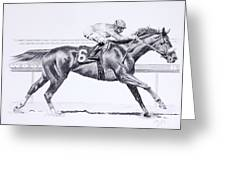 Bring On The Race Zenyatta Greeting Card by Joette Snyder