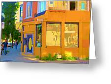 Bring Your Own Wine Restaurant Vents Du Sud Rue Roy Corner French Cafe Street Scene Carole Spandau Greeting Card
