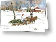 Bringing Home The Tree Greeting Card