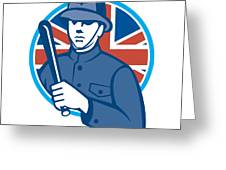 British Bobby Policeman Truncheon Flag Greeting Card