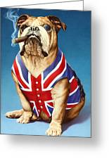 British Bulldog Greeting Card by Andrew Farley