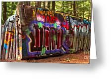 British Columbia Train Wreck Graffiti Greeting Card