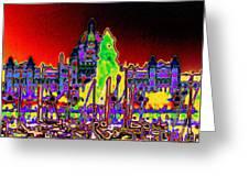 British Columbias Capitol Building At Night Greeting Card