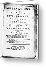 British Pamphlet, 1776 Greeting Card