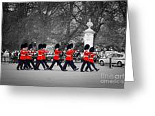British Royal Guards March And Perform The Changing Of The Guard In Buckingham Palace Greeting Card