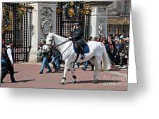 British Royal Guards Perform The Changing Of The Guard In Buckingham Palace Greeting Card