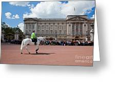 British Royal Guards Riding On Horse And Perform The Changing Of The Guard In Buckingham Palace Greeting Card