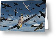 British Supermarine Spitfires Attacking Greeting Card