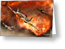 British Supermarine Spitfires Bursting Greeting Card