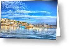 Brixham Devon England Uk English Harbour Summer Day With Blue Sky Traditional Coast Scene Greeting Card