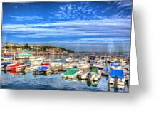 Brixham Marina Devon England Uk On Calm Summer Day With Blue Sky Greeting Card