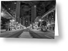 Broad Street At Night In Black And White Greeting Card