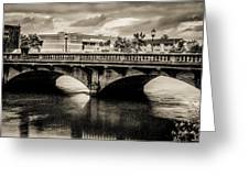 Broadway Bridge With Clouds Greeting Card