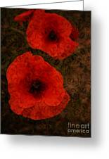Brocade Textured Poppies Greeting Card