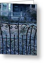 Broken Iron Fence By Old House Greeting Card
