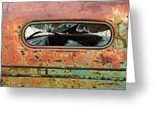 Broken Rear View Window Greeting Card