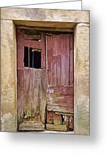 Broken Red Wood Door Greeting Card
