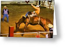 Bronc Bucking Out The Gate Greeting Card